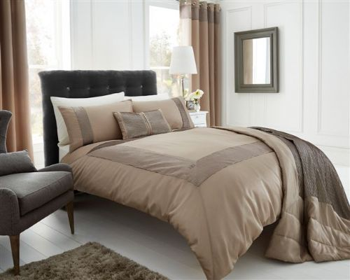 GOLD STYLISH TEXTURED FAUX SILK DUVET COVER LUXURY BEAUTIFUL PINTUCK BEDDING